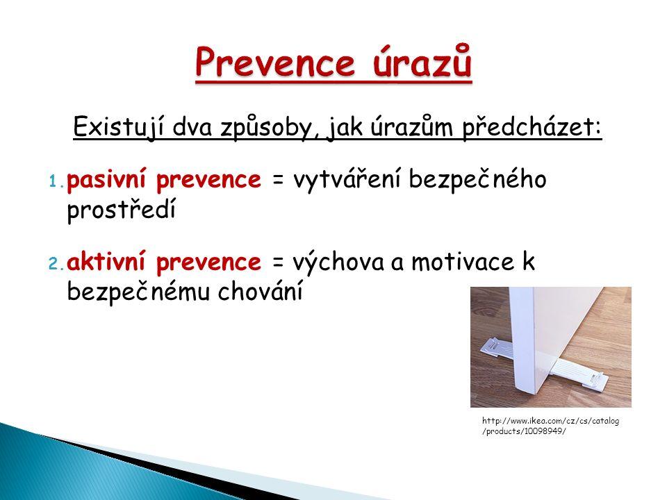 Existují dva způsoby, jak úrazům předcházet: 1. pasivní prevence = vytváření bezpečného prostředí 2. aktivní prevence = výchova a motivace k bezpečném