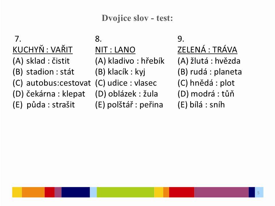 5 Dvojice slov - test: 7.8.9.