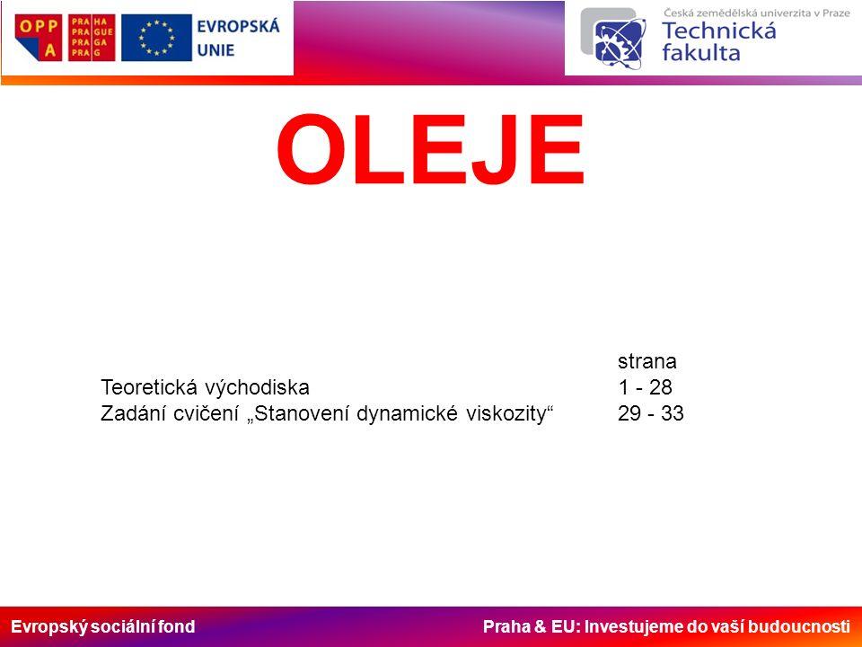 """Evropský sociální fond Praha & EU: Investujeme do vaší budoucnosti OLEJE strana Teoretická východiska1 - 28 Zadání cvičení """"Stanovení dynamické viskozity 29 - 33"""