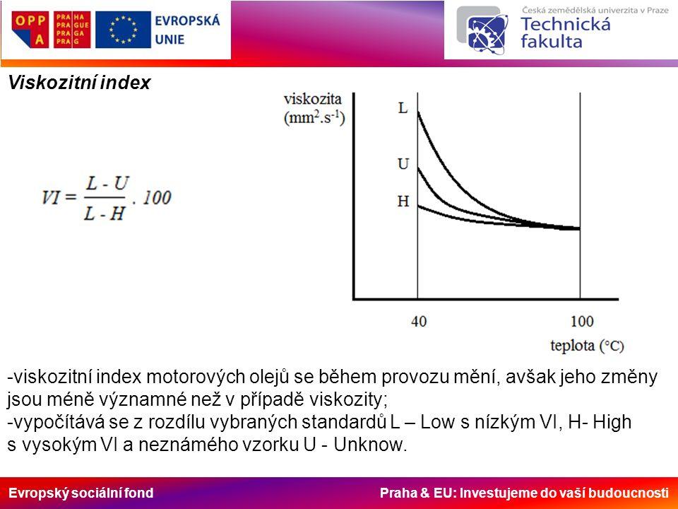 Evropský sociální fond Praha & EU: Investujeme do vaší budoucnosti Viskozitní index -viskozitní index motorových olejů se během provozu mění, avšak jeho změny jsou méně významné než v případě viskozity; -vypočítává se z rozdílu vybraných standardů L – Low s nízkým VI, H- High s vysokým VI a neznámého vzorku U - Unknow.