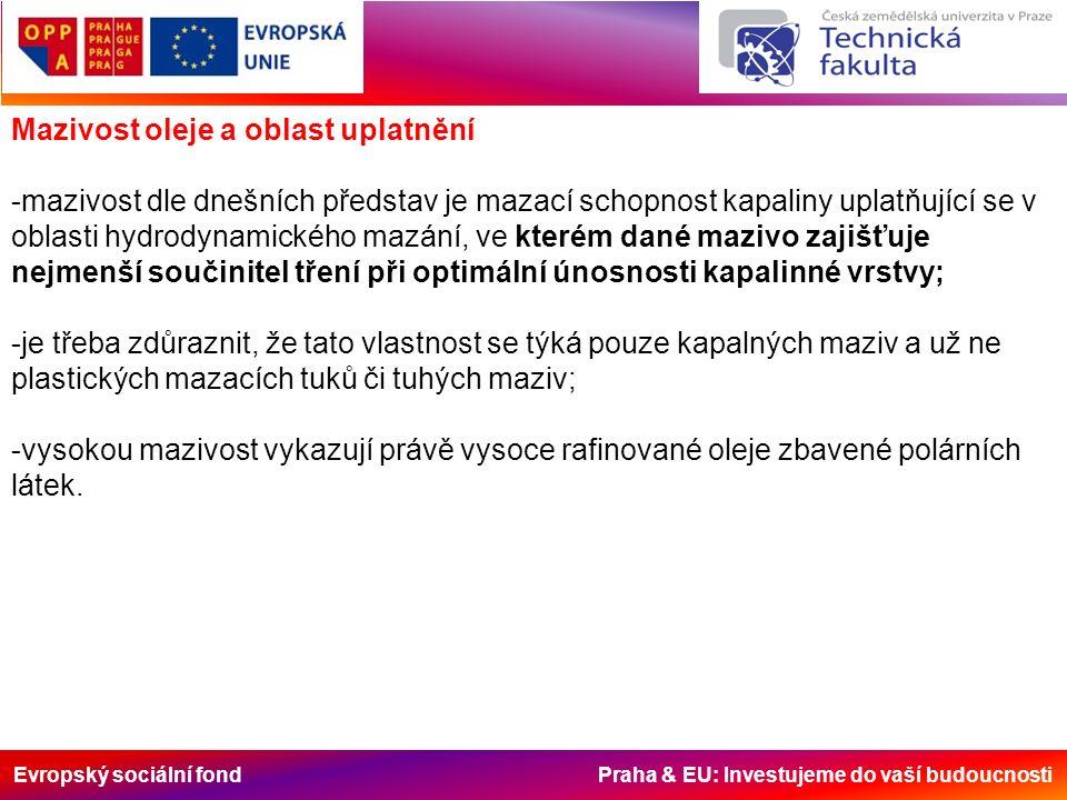 Evropský sociální fond Praha & EU: Investujeme do vaší budoucnosti Mazivost oleje a oblast uplatnění -mazivost dle dnešních představ je mazací schopnost kapaliny uplatňující se v oblasti hydrodynamického mazání, ve kterém dané mazivo zajišťuje nejmenší součinitel tření při optimální únosnosti kapalinné vrstvy; -je třeba zdůraznit, že tato vlastnost se týká pouze kapalných maziv a už ne plastických mazacích tuků či tuhých maziv; -vysokou mazivost vykazují právě vysoce rafinované oleje zbavené polárních látek.