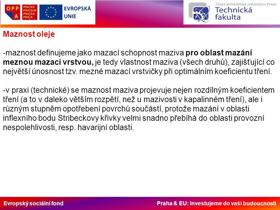 Evropský sociální fond Praha & EU: Investujeme do vaší budoucnosti Maznost oleje -maznost definujeme jako mazací schopnost maziva pro oblast mazání meznou mazací vrstvou, je tedy vlastnost maziva (všech druhů), zajišťující co největší únosnost tzv.