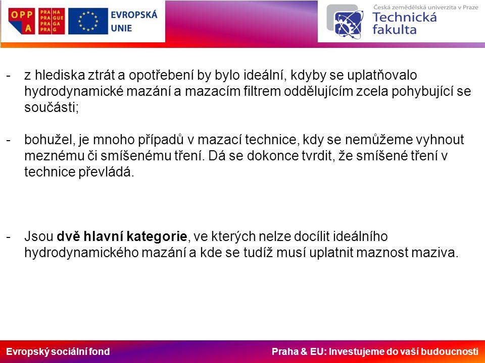 Evropský sociální fond Praha & EU: Investujeme do vaší budoucnosti -z hlediska ztrát a opotřebení by bylo ideální, kdyby se uplatňovalo hydrodynamické mazání a mazacím filtrem oddělujícím zcela pohybující se součásti; -bohužel, je mnoho případů v mazací technice, kdy se nemůžeme vyhnout meznému či smíšenému tření.