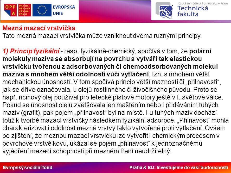 Evropský sociální fond Praha & EU: Investujeme do vaší budoucnosti Mezná mazací vrstvička Tato mezná mazací vrstvička může vzniknout dvěma různými principy.