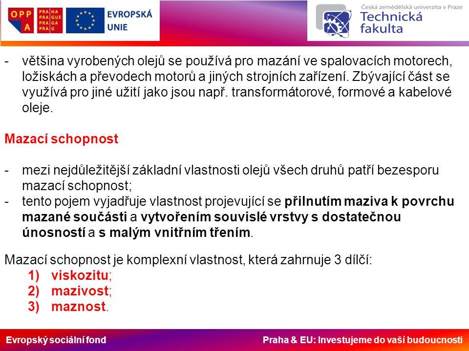 Evropský sociální fond Praha & EU: Investujeme do vaší budoucnosti Mazací schopnost je komplexní vlastnost, která zahrnuje 3 dílčí: 1)viskozitu; 2)mazivost; 3)maznost.