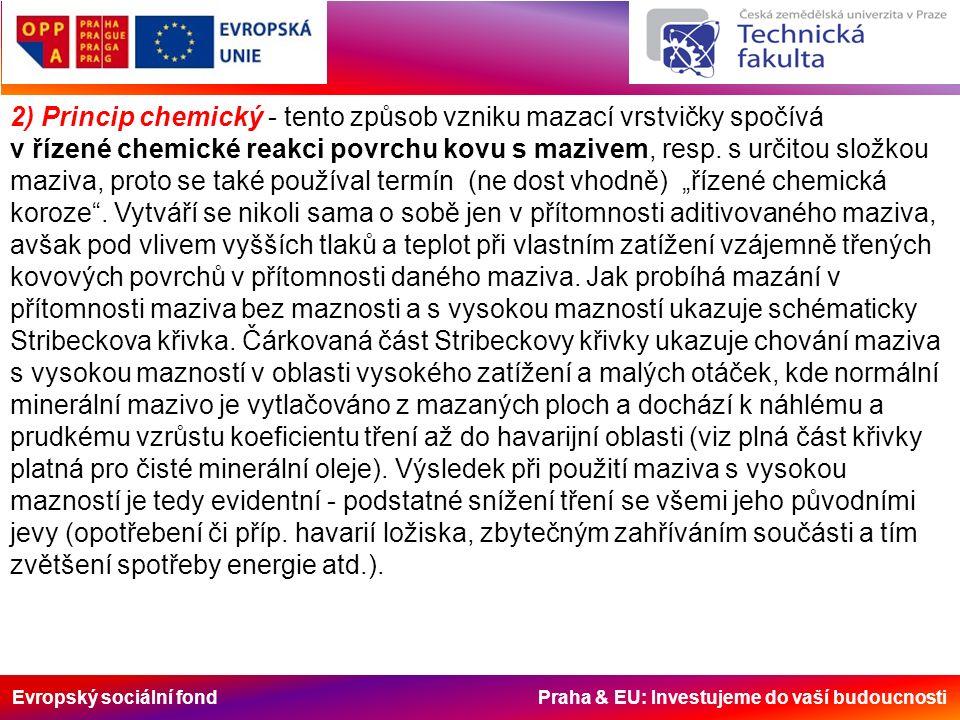 Evropský sociální fond Praha & EU: Investujeme do vaší budoucnosti 2) Princip chemický - tento způsob vzniku mazací vrstvičky spočívá v řízené chemické reakci povrchu kovu s mazivem, resp.