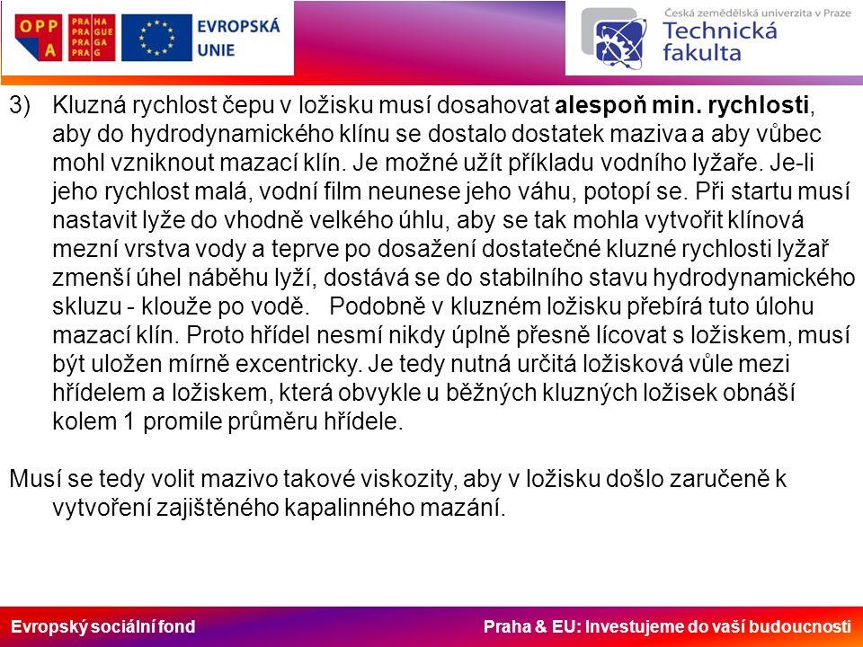 Evropský sociální fond Praha & EU: Investujeme do vaší budoucnosti 3)Kluzná rychlost čepu v ložisku musí dosahovat alespoň min.