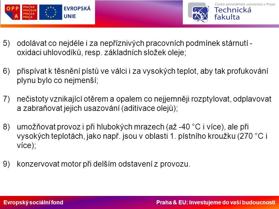 Evropský sociální fond Praha & EU: Investujeme do vaší budoucnosti 5)odolávat co nejdéle i za nepříznivých pracovních podmínek stárnutí - oxidaci uhlovodíků, resp.