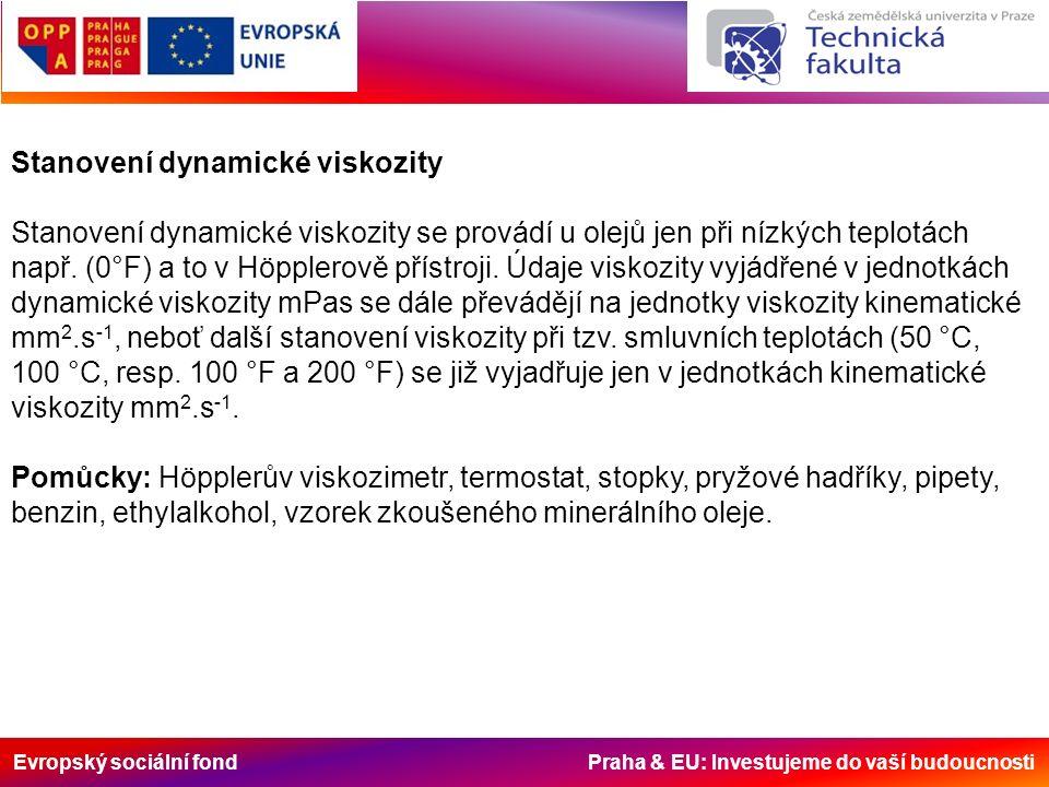 Evropský sociální fond Praha & EU: Investujeme do vaší budoucnosti Stanovení dynamické viskozity Stanovení dynamické viskozity se provádí u olejů jen při nízkých teplotách např.