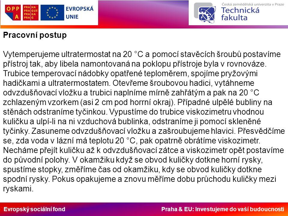 Evropský sociální fond Praha & EU: Investujeme do vaší budoucnosti Pracovní postup Vytemperujeme ultratermostat na 20 °C a pomocí stavěcích šroubů postavíme přístroj tak, aby libela namontovaná na poklopu přístroje byla v rovnováze.
