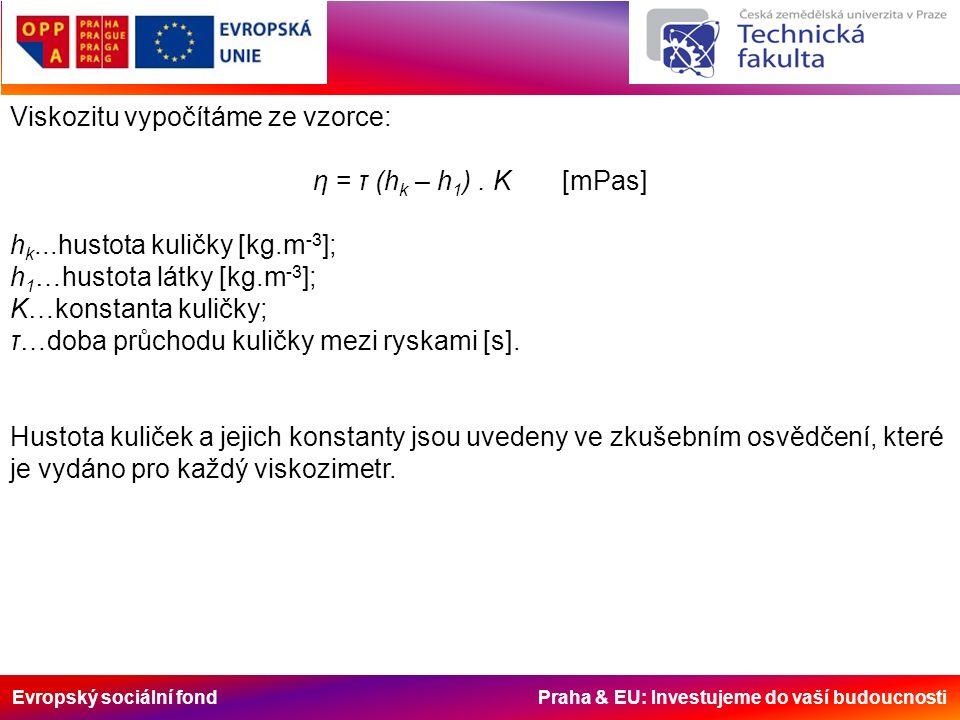 Evropský sociální fond Praha & EU: Investujeme do vaší budoucnosti Viskozitu vypočítáme ze vzorce: η = τ (h k – h 1 ).