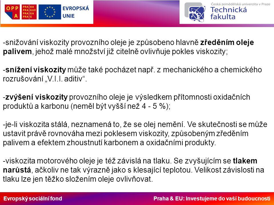 Evropský sociální fond Praha & EU: Investujeme do vaší budoucnosti -snižování viskozity provozního oleje je způsobeno hlavně zředěním oleje palivem, jehož malé množství již citelně ovlivňuje pokles viskozity; -snížení viskozity může také pocházet např.