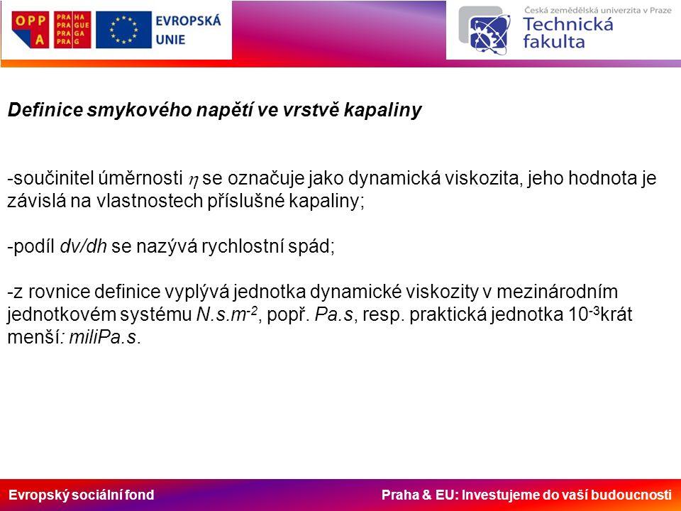 Evropský sociální fond Praha & EU: Investujeme do vaší budoucnosti Definice smykového napětí ve vrstvě kapaliny -součinitel úměrnosti  se označuje jako dynamická viskozita, jeho hodnota je závislá na vlastnostech příslušné kapaliny; -podíl dv/dh se nazývá rychlostní spád; -z rovnice definice vyplývá jednotka dynamické viskozity v mezinárodním jednotkovém systému N.s.m -2, popř.