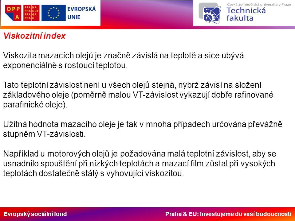 Evropský sociální fond Praha & EU: Investujeme do vaší budoucnosti Viskozitní index Viskozita mazacích olejů je značně závislá na teplotě a sice ubývá exponenciálně s rostoucí teplotou.