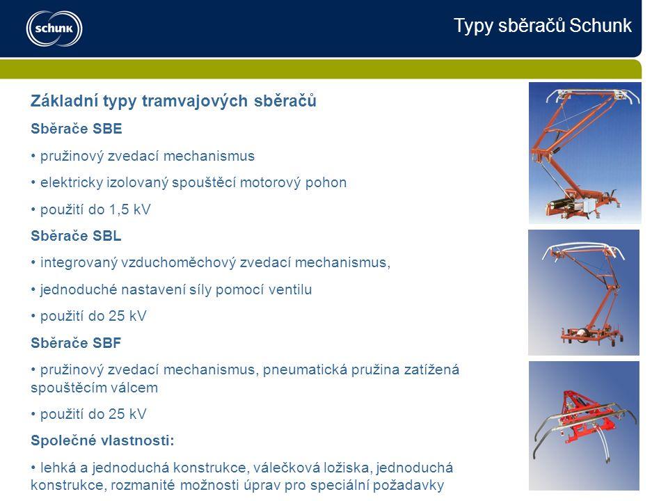 Typy sběračů Schunk Základní typy tramvajových sběračů Sběrače SBE pružinový zvedací mechanismus elektricky izolovaný spouštěcí motorový pohon použití do 1,5 kV Sběrače SBL integrovaný vzduchoměchový zvedací mechanismus, jednoduché nastavení síly pomocí ventilu použití do 25 kV Sběrače SBF pružinový zvedací mechanismus, pneumatická pružina zatížená spouštěcím válcem použití do 25 kV Společné vlastnosti: lehká a jednoduchá konstrukce, válečková ložiska, jednoduchá konstrukce, rozmanité možnosti úprav pro speciální požadavky