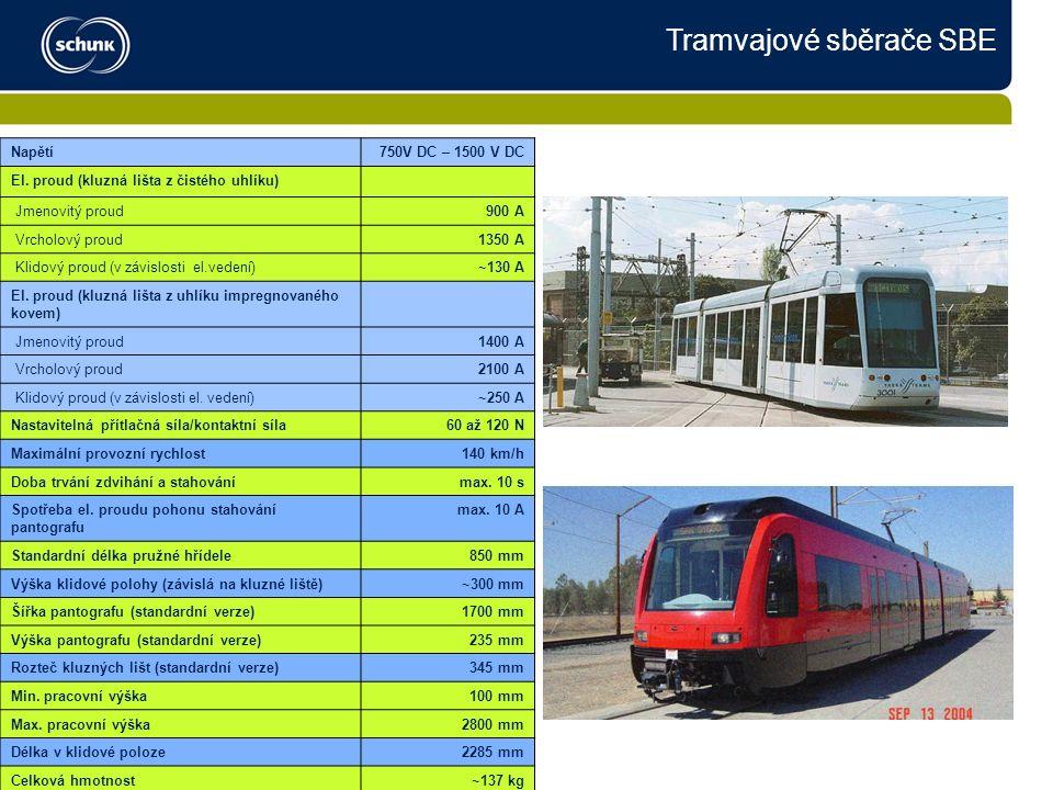 Tramvajové sběrače SBE Napětí750V DC – 1500 V DC El.