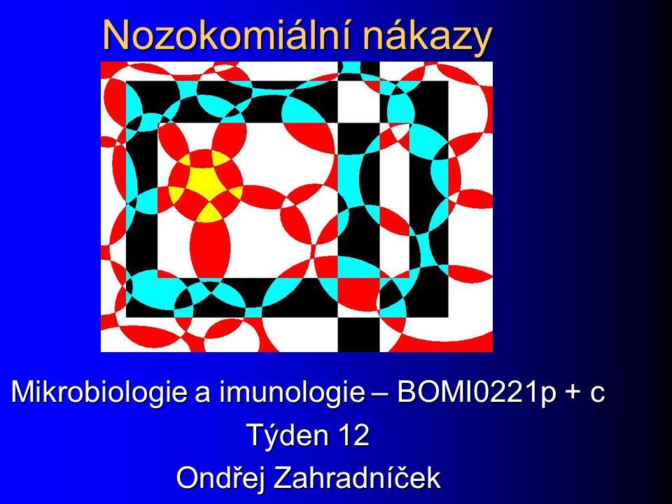 Nozokomiální nákazy Mikrobiologie a imunologie – BOMI0221p + c Týden 12 Ondřej Zahradníček