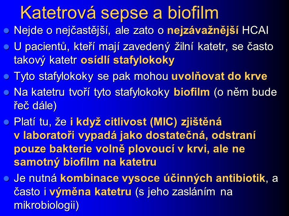 Katetrová sepse a biofilm Nejde o nejčastější, ale zato o nejzávažnější HCAI Nejde o nejčastější, ale zato o nejzávažnější HCAI U pacientů, kteří mají zavedený žilní katetr, se často takový katetr osídlí stafylokoky U pacientů, kteří mají zavedený žilní katetr, se často takový katetr osídlí stafylokoky Tyto stafylokoky se pak mohou uvolňovat do krve Tyto stafylokoky se pak mohou uvolňovat do krve Na katetru tvoří tyto stafylokoky biofilm (o něm bude řeč dále) Na katetru tvoří tyto stafylokoky biofilm (o něm bude řeč dále) Platí tu, že i když citlivost (MIC) zjištěná v laboratoři vypadá jako dostatečná, odstraní pouze bakterie volně plovoucí v krvi, ale ne samotný biofilm na katetru Platí tu, že i když citlivost (MIC) zjištěná v laboratoři vypadá jako dostatečná, odstraní pouze bakterie volně plovoucí v krvi, ale ne samotný biofilm na katetru Je nutná kombinace vysoce účinných antibiotik, a často i výměna katetru (s jeho zasláním na mikrobiologii) Je nutná kombinace vysoce účinných antibiotik, a často i výměna katetru (s jeho zasláním na mikrobiologii)