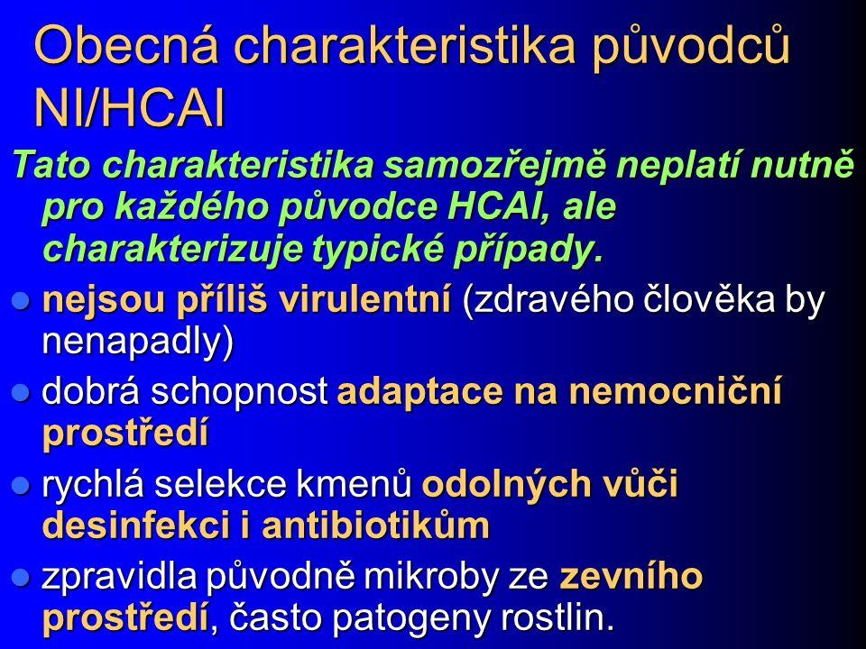 Obecná charakteristika původců NI/HCAI Tato charakteristika samozřejmě neplatí nutně pro každého původce HCAI, ale charakterizuje typické případy.