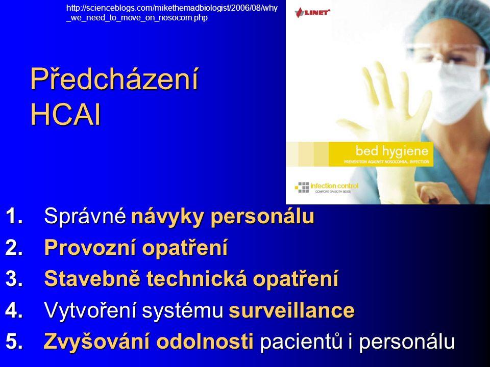 Předcházení HCAI 1. Správné návyky personálu 2. Provozní opatření 3.