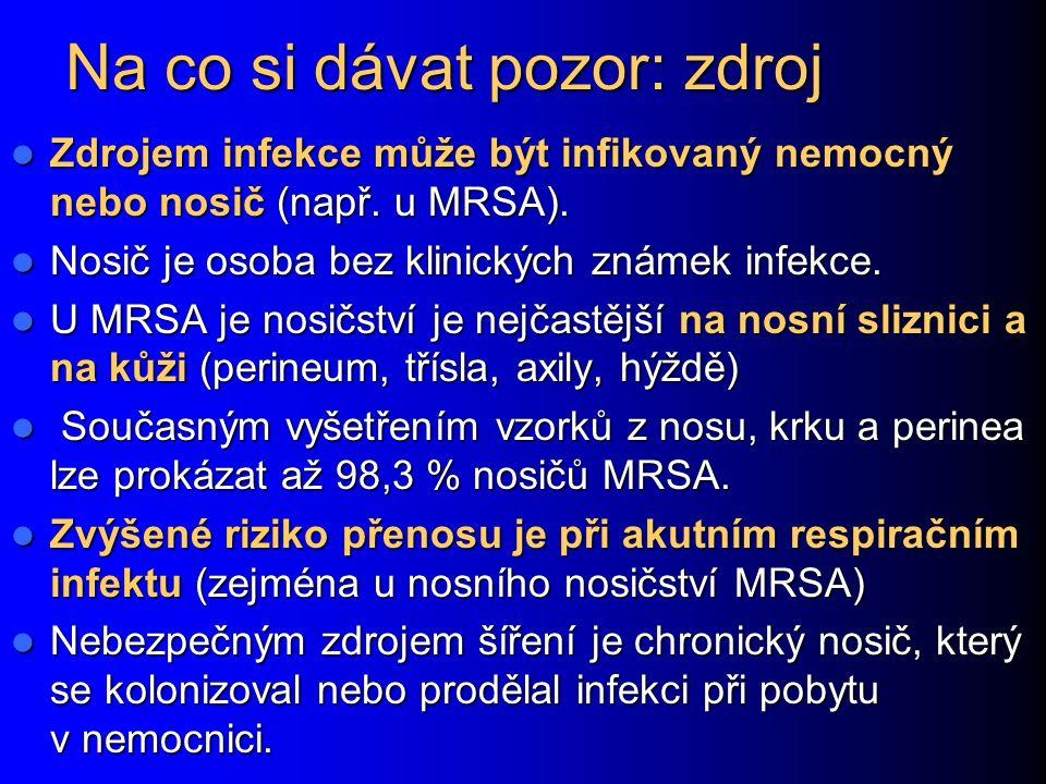 Na co si dávat pozor: zdroj Zdrojem infekce může být infikovaný nemocný nebo nosič (např.