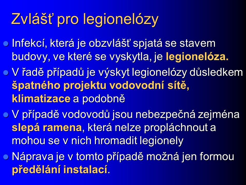 Zvlášť pro legionelózy Infekcí, která je obzvlášť spjatá se stavem budovy, ve které se vyskytla, je legionelóza.