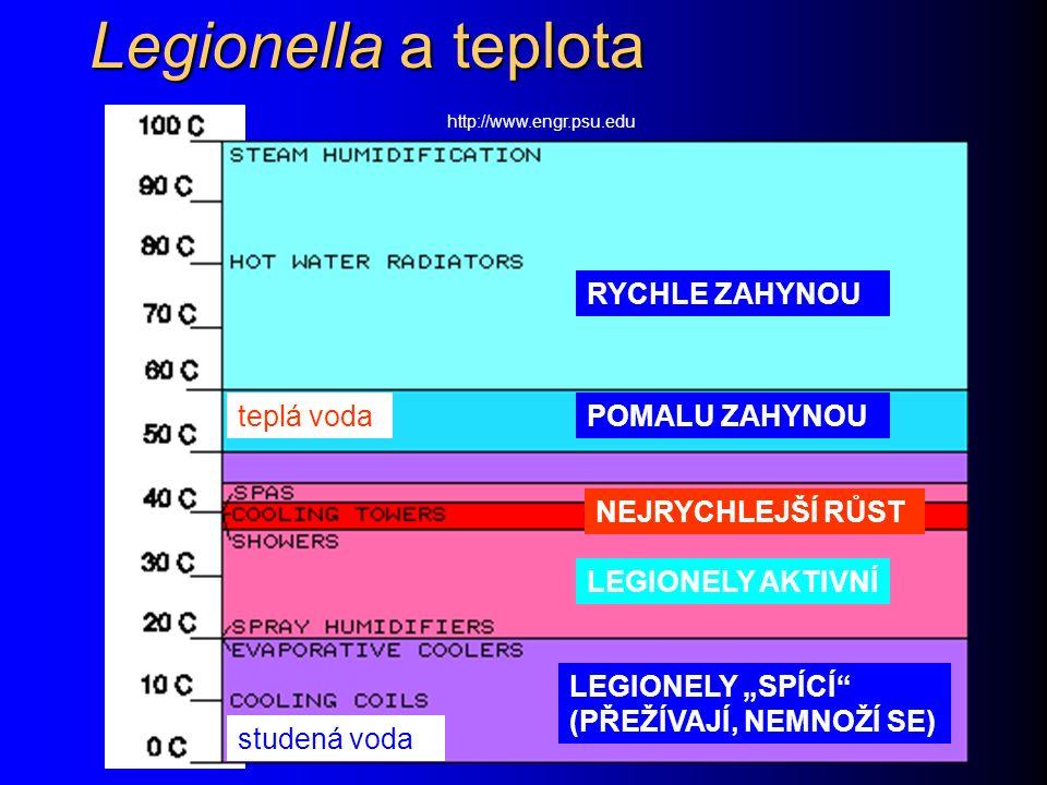 """Legionella a teplota http://www.engr.psu.edu RYCHLE ZAHYNOU POMALU ZAHYNOU LEGIONELY AKTIVNÍ LEGIONELY """"SPÍCÍ (PŘEŽÍVAJÍ, NEMNOŽÍ SE) NEJRYCHLEJŠÍ RŮST studená voda teplá voda"""