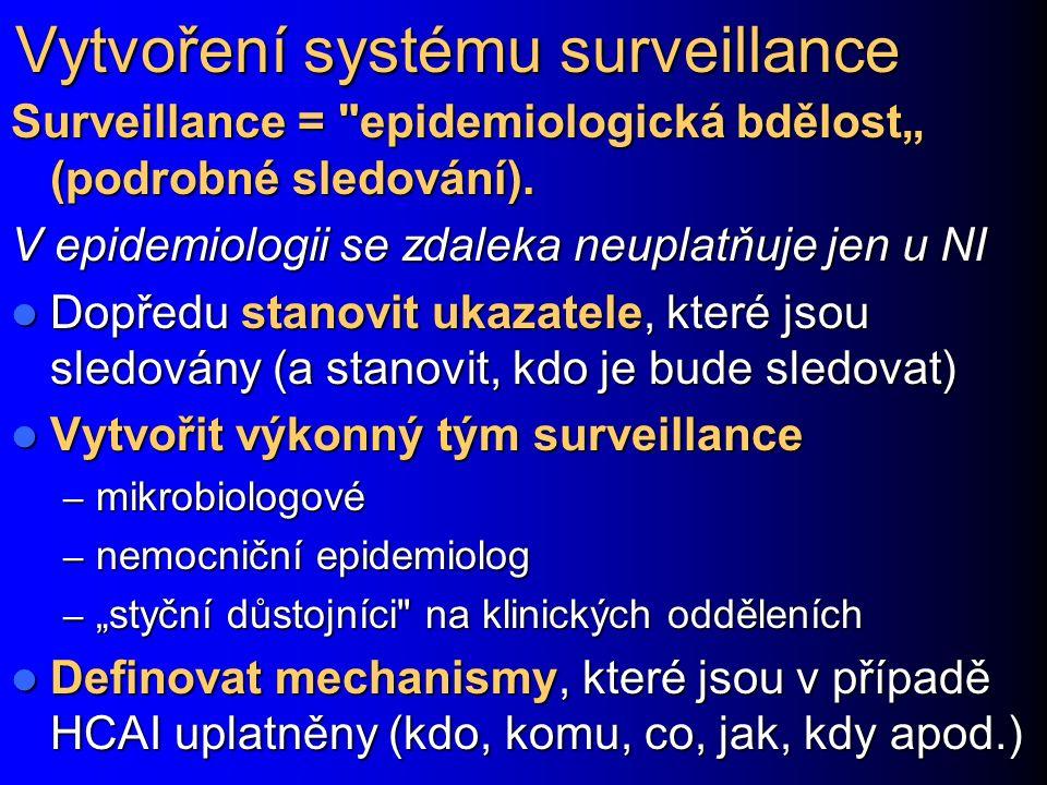 """Vytvoření systému surveillance Surveillance = epidemiologická bdělost"""" (podrobné sledování)."""