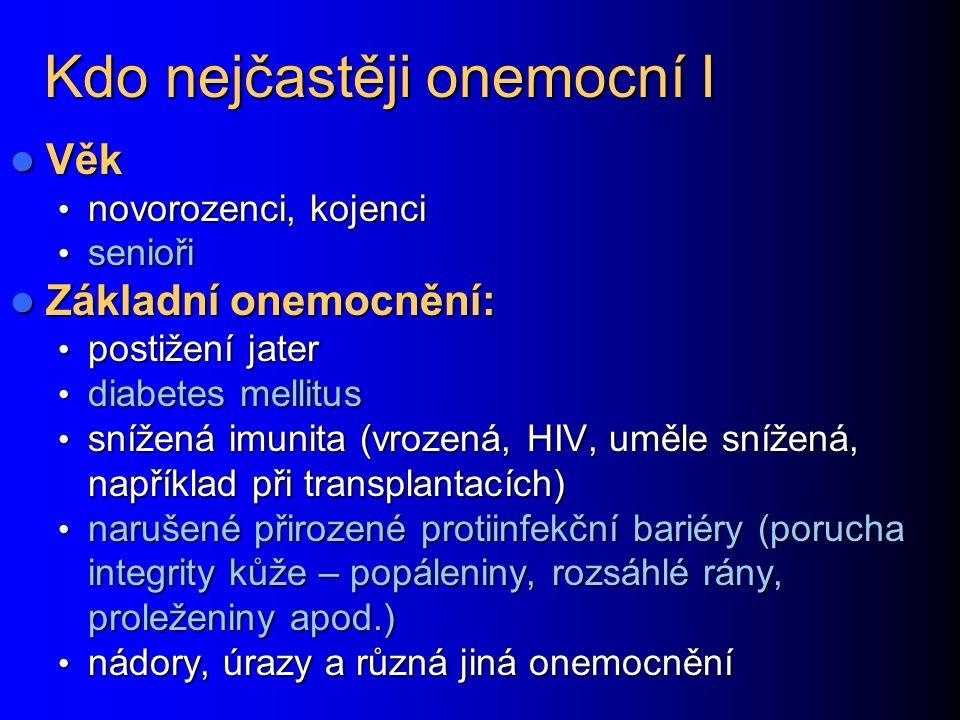 Kdo nejčastěji onemocní I Věk Věk novorozenci, kojenci novorozenci, kojenci senioři senioři Základní onemocnění: Základní onemocnění: postižení jater postižení jater diabetes mellitus diabetes mellitus snížená imunita (vrozená, HIV, uměle snížená, například při transplantacích) snížená imunita (vrozená, HIV, uměle snížená, například při transplantacích) narušené přirozené protiinfekční bariéry (porucha integrity kůže – popáleniny, rozsáhlé rány, proleženiny apod.) narušené přirozené protiinfekční bariéry (porucha integrity kůže – popáleniny, rozsáhlé rány, proleženiny apod.) nádory, úrazy a různá jiná onemocnění nádory, úrazy a různá jiná onemocnění