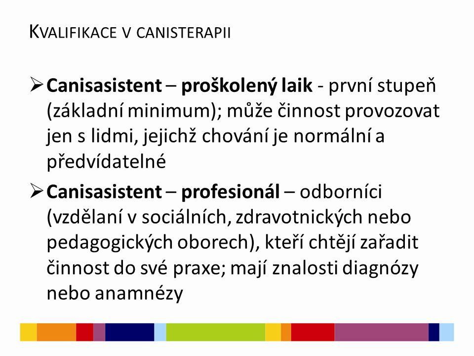  Canisasistent – proškolený laik - první stupeň (základní minimum); může činnost provozovat jen s lidmi, jejichž chování je normální a předvídatelné  Canisasistent – profesionál – odborníci (vzdělaní v sociálních, zdravotnických nebo pedagogických oborech), kteří chtějí zařadit činnost do své praxe; mají znalosti diagnózy nebo anamnézy K VALIFIKACE V CANISTERAPII