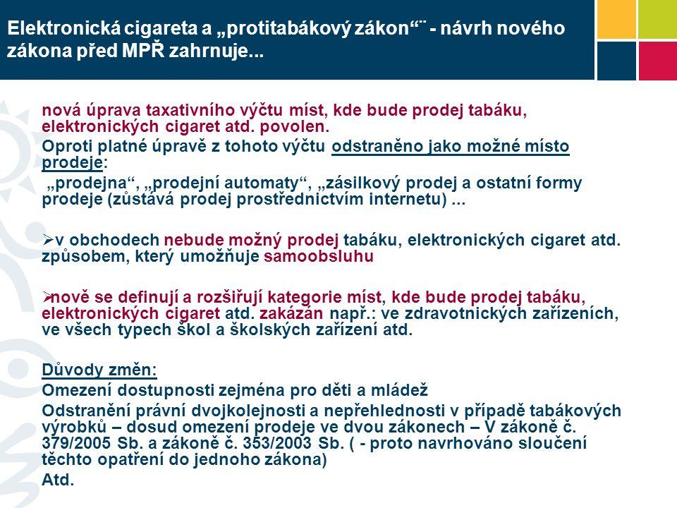 """Elektronická cigareta a """"protitabákový zákon ¨ - návrh nového zákona před MPŘ zahrnuje..."""