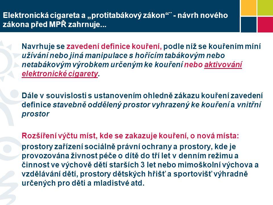 Zavedení ÚPLNÉHO ZÁKAZU KOUŘENÍ na některých typech míst, kde v současnosti platí pouze částečný zákaz kouření (provozovny stravovacích služeb) Částečný zákaz kouření (možnost kouření ve stavebně oddělených prostorách vyhrazených ke kouření) zůstane v platnosti např.
