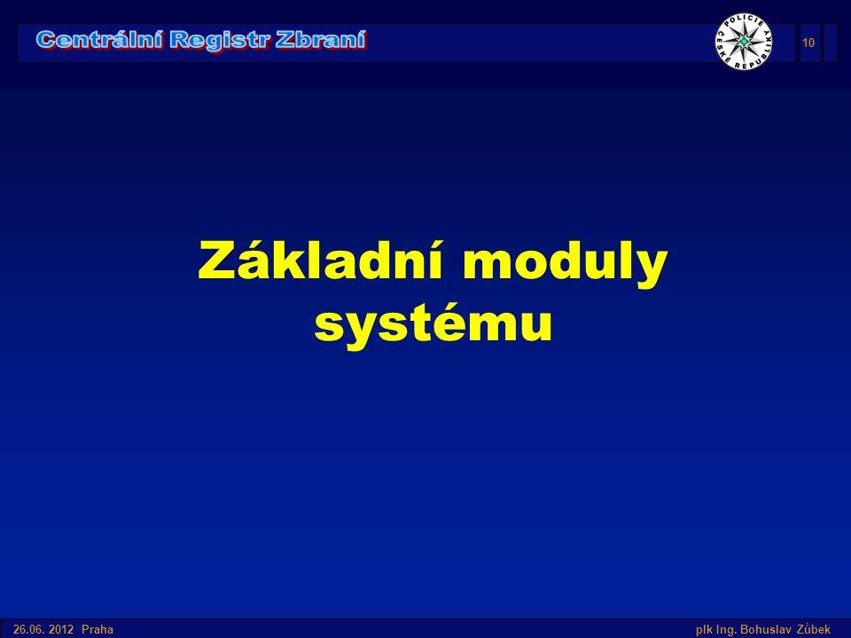 Úvod do SIS v České republice 26.06. 2012 Praha plk Ing. Bohuslav Zůbek Základní moduly systému 10