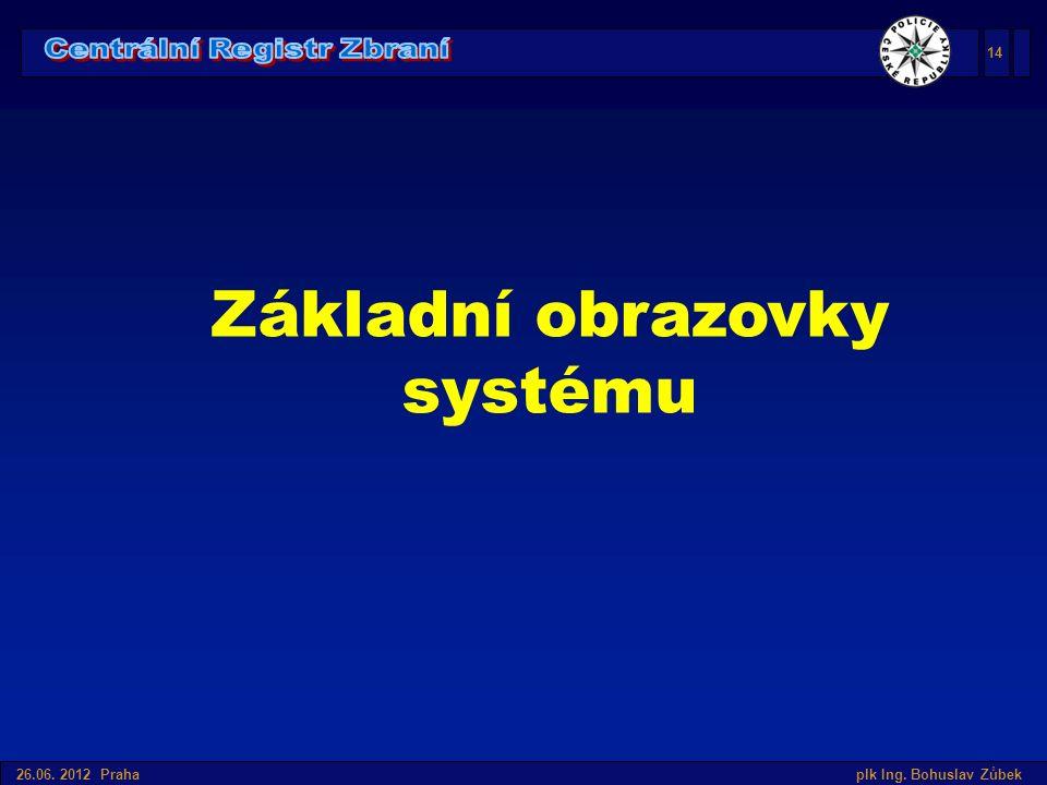 Úvod do SIS v České republice 26.06. 2012 Praha plk Ing. Bohuslav Zůbek Základní obrazovky systému 14