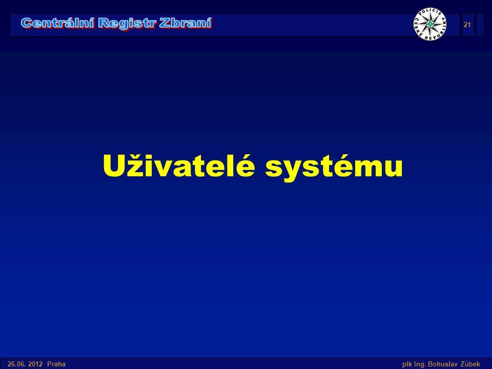Úvod do SIS v České republice 26.06. 2012 Praha plk Ing. Bohuslav Zůbek Uživatelé systému 21