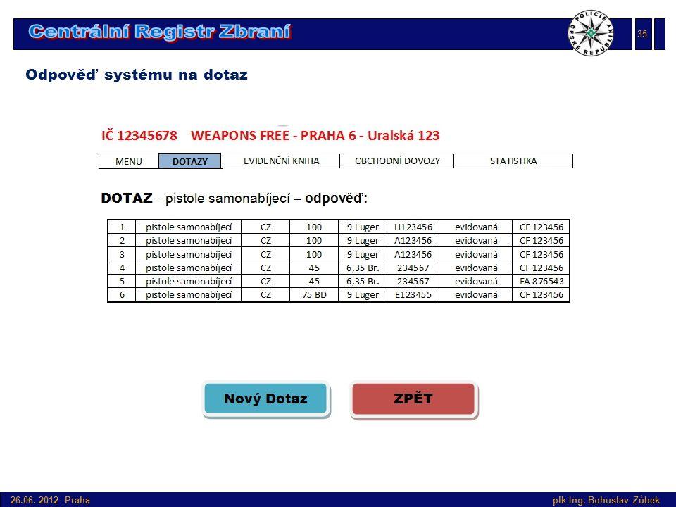 Úvod do SIS v České republice 26.06. 2012 Praha plk Ing. Bohuslav Zůbek Odpověď systému na dotaz 35
