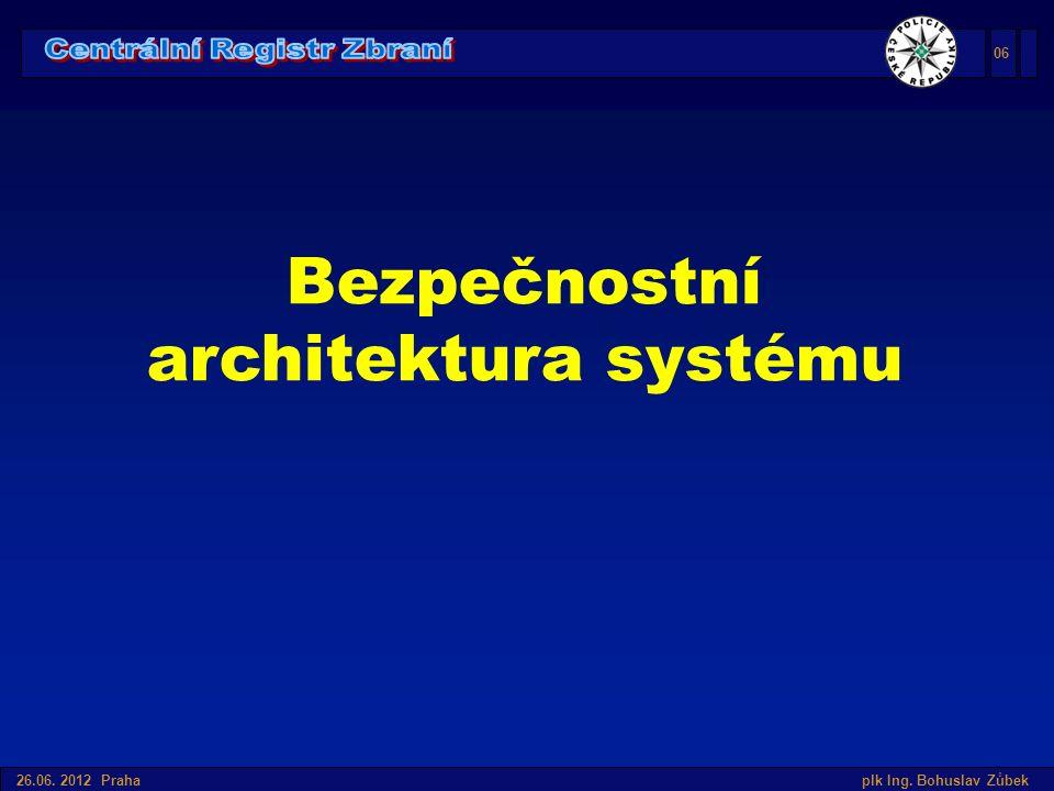 Úvod do SIS v České republice 26.06. 2012 Praha plk Ing. Bohuslav Zůbek Bezpečnostní architektura systému 06