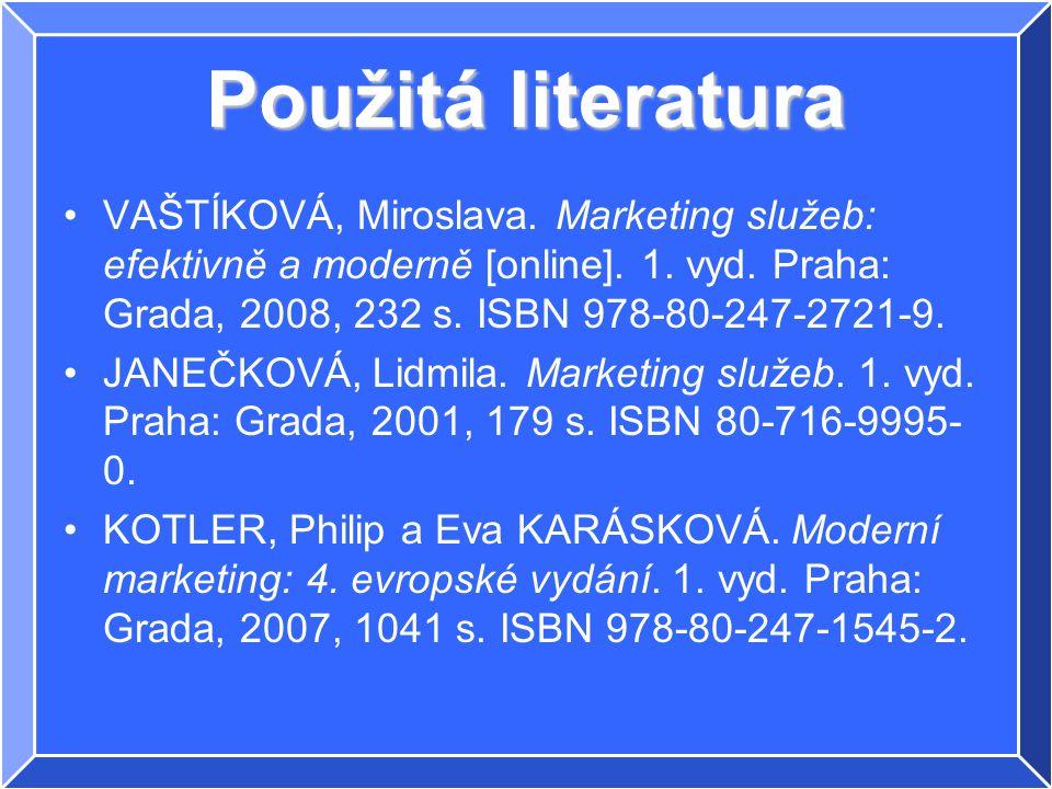 Použitá literatura VAŠTÍKOVÁ, Miroslava. Marketing služeb: efektivně a moderně [online].