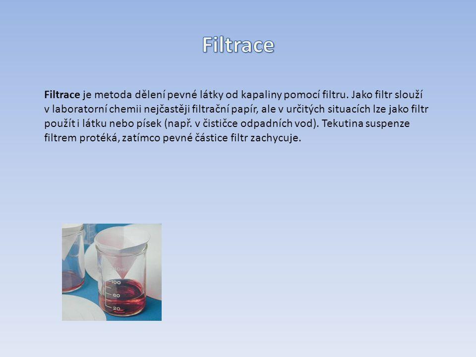 Filtrace je metoda dělení pevné látky od kapaliny pomocí filtru.