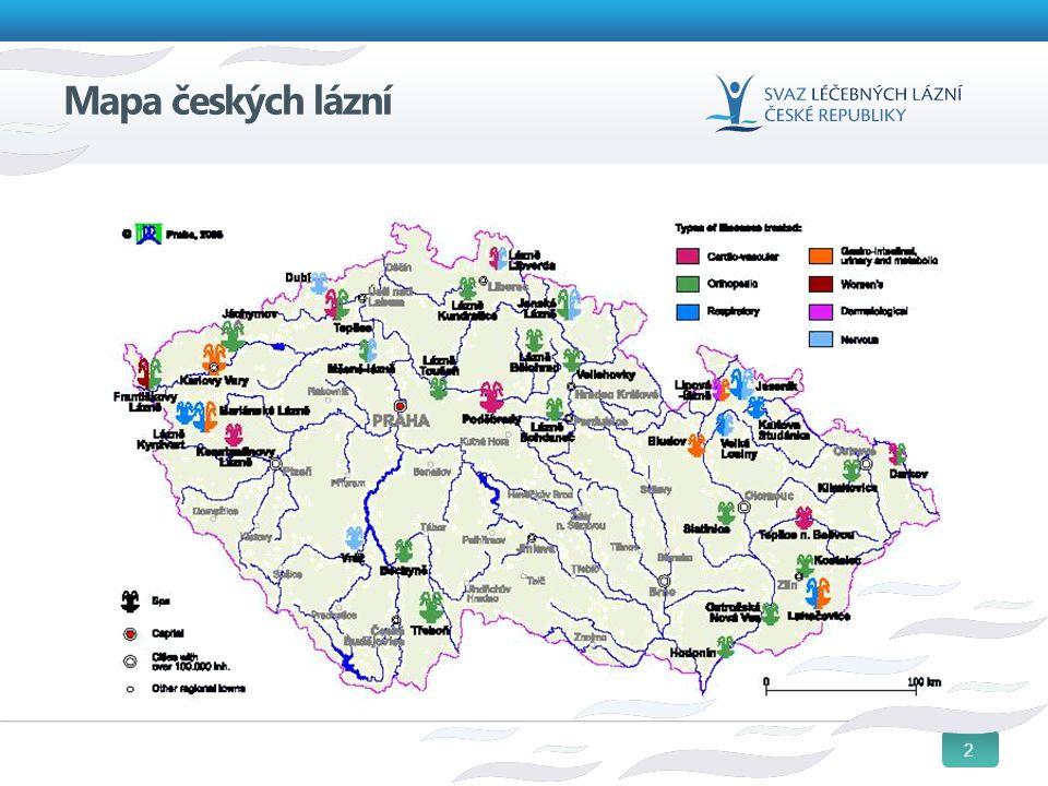 3 Léčebné lázně v ČR Dlouholetá tradice, v Evropě obdobná jen v Německu Registrovaná lůžková zdravotnická zařízení Splňují akreditační podmínky ZP i legislativní kriteria pro získání statutu přírodních léčebných lázní Poskytují ústavní léčebnou a preventivní péči při využití místních přírodních léčivých zdrojů - jediný rozdíl od OLÚ Dlouhodobě postupně snižují svou závislost na ZP Nejsou pouhými hotely v lázeňských místech 87% jejich lůžkového fondu spravují soukromí vlastníci Poskytují i neléčebnou péči- relaxační, regenerační a preventivní,- plní edukační roli pro dnešní čtyřicátníky