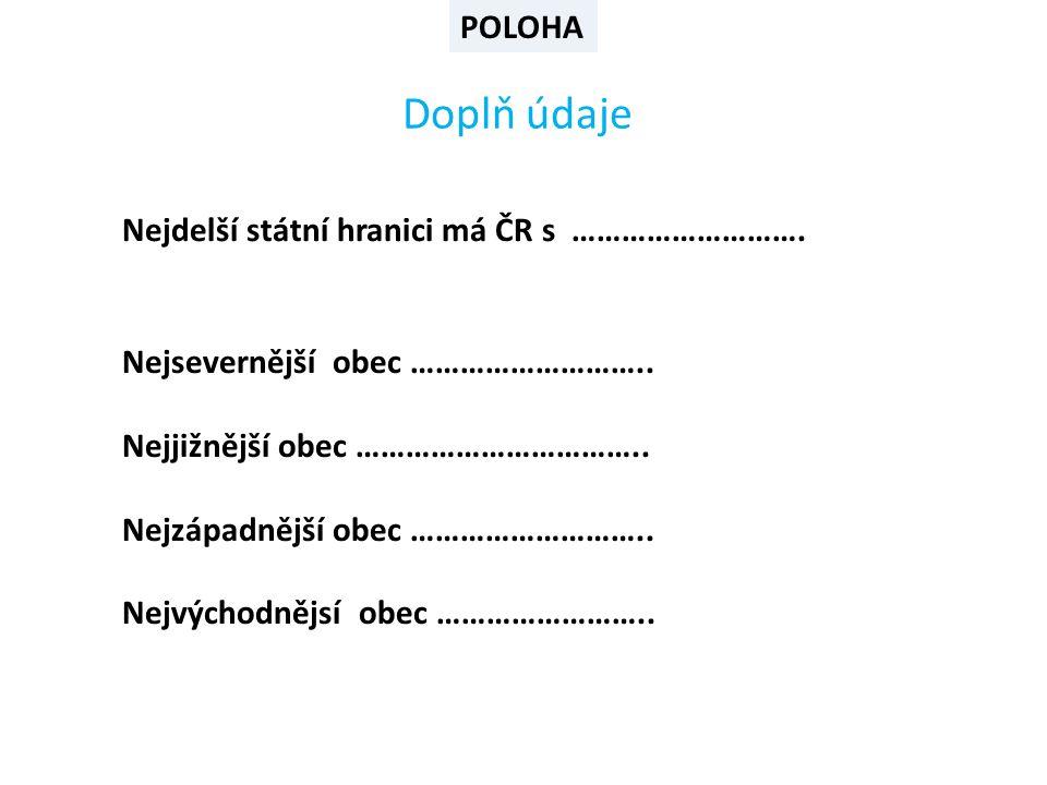 POLOHA Doplň údaje Nejdelší státní hranici má ČR s ……………………….