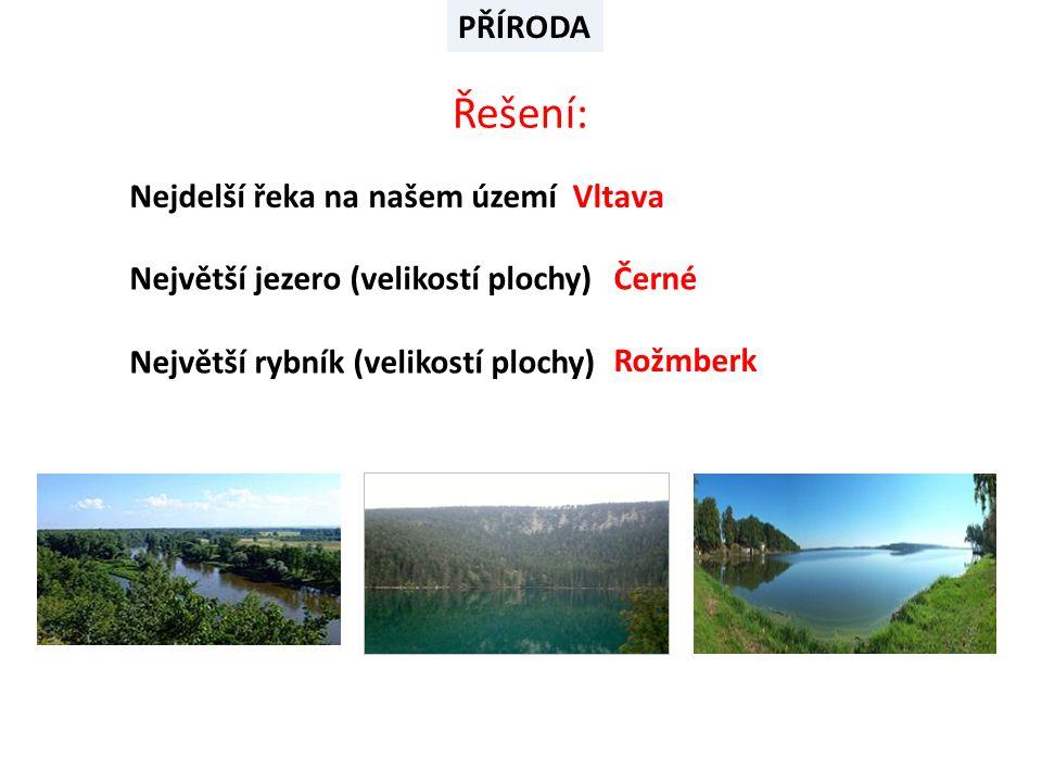 Nejdelší řeka na našem území Největší jezero (velikostí plochy) Největší rybník (velikostí plochy) Řešení: Vltava Černé Rožmberk PŘÍRODA