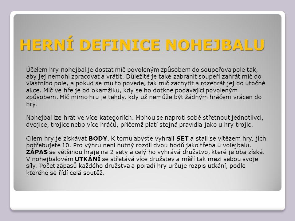 HERNÍ DEFINICE NOHEJBALU Účelem hry nohejbal je dostat míč povoleným způsobem do soupeřova pole tak, aby jej nemohl zpracovat a vrátit. Důležité je ta