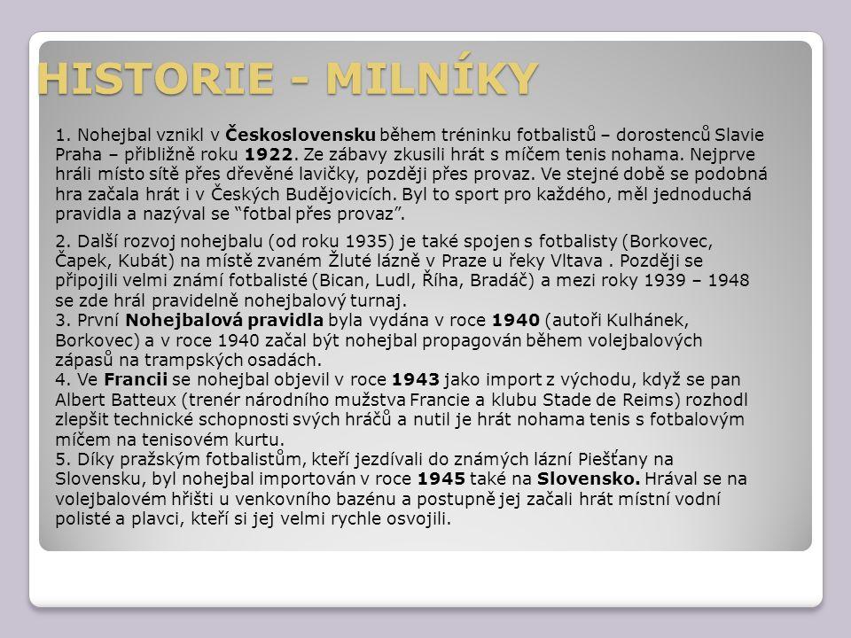HISTORIE - MILNÍKY 1. Nohejbal vznikl v Československu během tréninku fotbalistů – dorostenců Slavie Praha – přibližně roku 1922. Ze zábavy zkusili hr