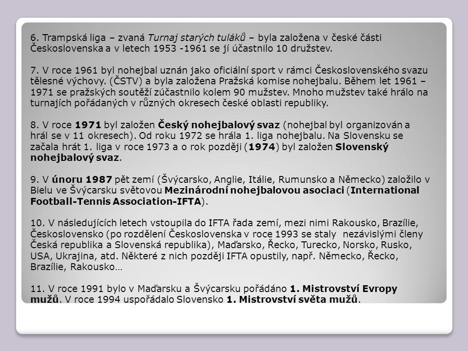 6. Trampská liga – zvaná Turnaj starých tuláků – byla založena v české části Československa a v letech 1953 -1961 se jí účastnilo 10 družstev. 7. V ro