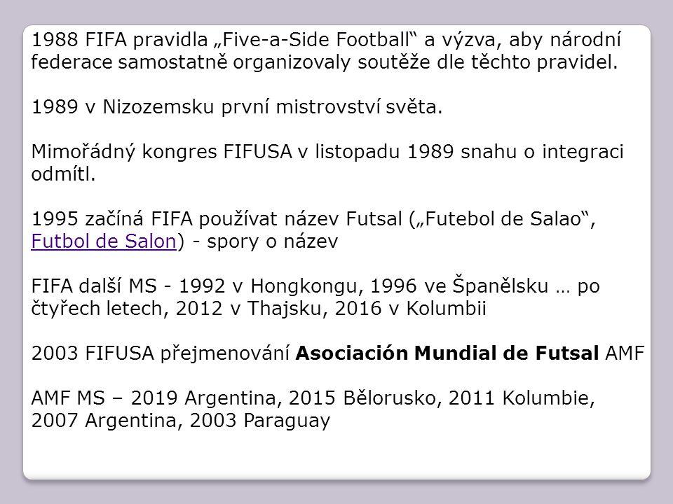 """1988 FIFA pravidla """"Five-a-Side Football"""" a výzva, aby národní federace samostatně organizovaly soutěže dle těchto pravidel. 1989 v Nizozemsku první m"""
