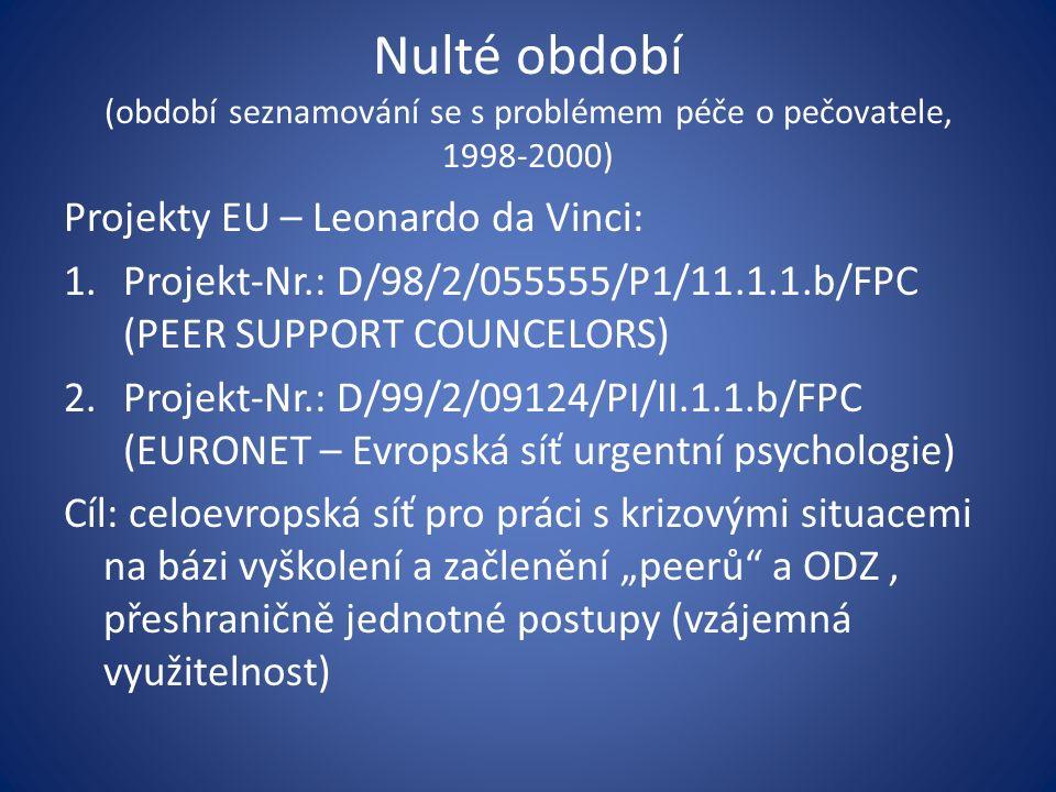 Nulté období (období seznamování se s problémem péče o pečovatele, 1998-2000) Projekty EU – Leonardo da Vinci: 1.Projekt-Nr.: D/98/2/055555/P1/11.1.1.