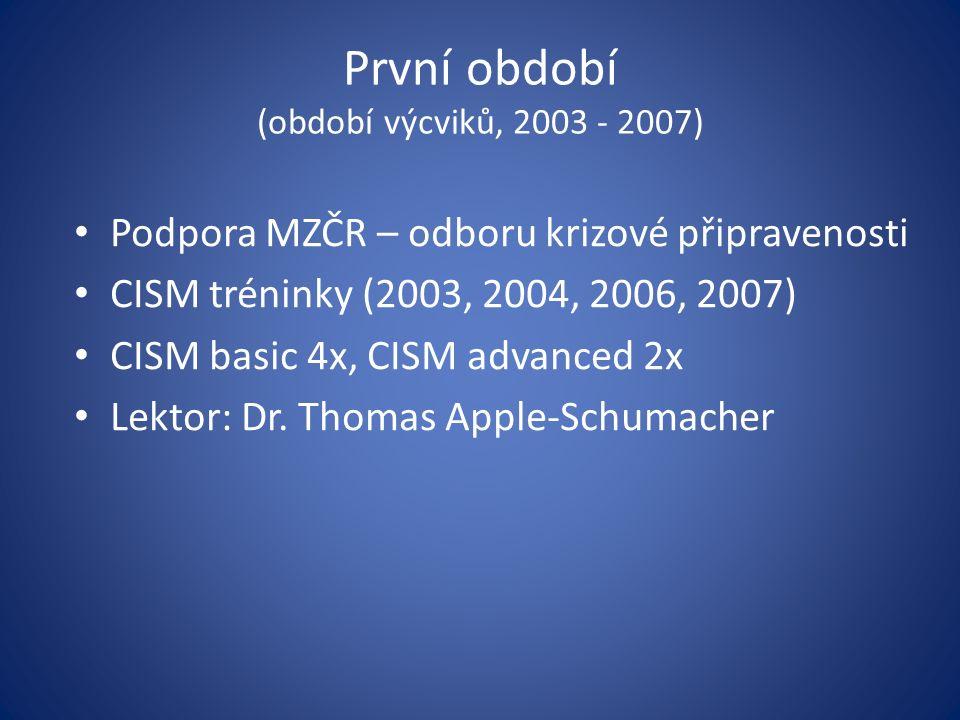 První období (období výcviků, 2003 - 2007) Podpora MZČR – odboru krizové připravenosti CISM tréninky (2003, 2004, 2006, 2007) CISM basic 4x, CISM adva