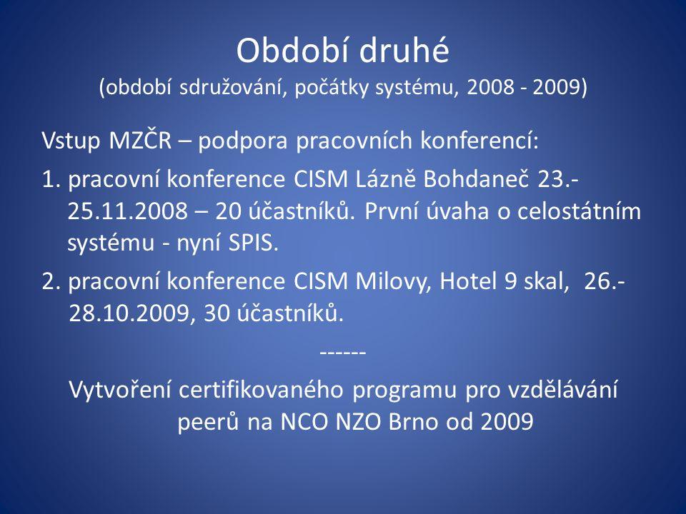Období druhé (období sdružování, počátky systému, 2008 - 2009) Vstup MZČR – podpora pracovních konferencí: 1. pracovní konference CISM Lázně Bohdaneč