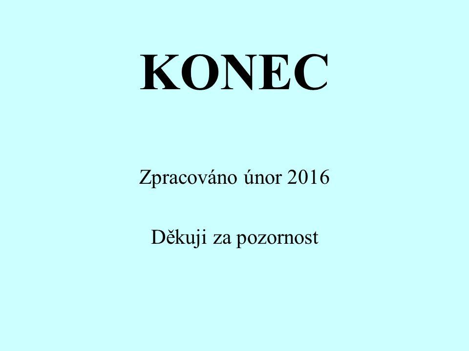 KONEC Zpracováno únor 2016 Děkuji za pozornost